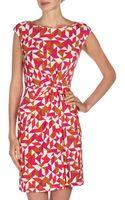 Donna Morgan Geometricprint Drape Dress Roseberrymulti - Lyst