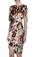 Rachel Roy Printed Faux Wrap Silk Dress Blackmulticolor - Lyst