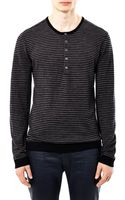 John Varvatos Stripe Henley Sweater - Lyst