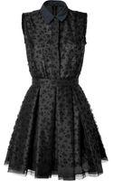 Victoria, Victoria Beckham Black Printed Silk Organza Dress - Lyst