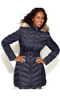 Laundry By Shelli Segal Hooded Faux Fur Trim Belted Puffer - Lyst