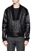 3.1 Phillip Lim Cableknit Embossed Leather Jacket - Lyst