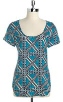 Lucky Brand Printed Boxy Top - Lyst