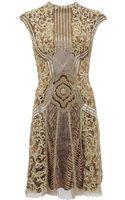 Monique Lhuillier Brocade High Neck Cocktail Dress - Lyst