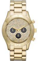 Michael Kors Midsize Golden Stainless Steel Layton Glitz Watch - Lyst