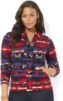 Lauren by Ralph Lauren Long Sleeve South Western Print Cardigan - Lyst