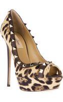 Valentino Studded Leopard Print Pump - Lyst