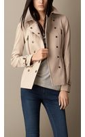 Burberry Cotton Twill Peplum Trench Jacket - Lyst