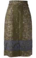 Dolce & Gabbana Dolce Gabbana Tweed Lace Embroidered Skirt - Lyst