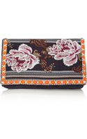 Matthew Williamson Zippy Embellished Jacquard and Suede Clutch - Lyst