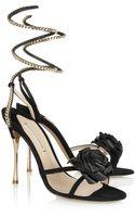 Nicholas Kirkwood Rose-embellished Suede Sandals - Lyst