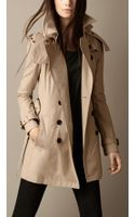Burberry Short Hooded Trench Coat - Lyst