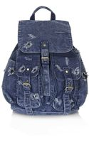 Topshop Ripped Denim Backpack - Lyst