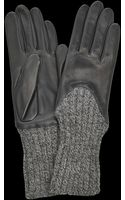 Agnelle Leather and Knitted Gloves - Lyst