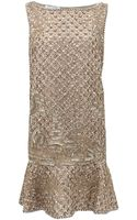 Oscar de la Renta Sleeveless Flounce Hem Beaded Dress - Lyst