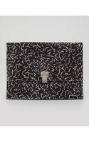 Proenza Schouler Large Printed Calf Hair Lunch Bag Clutch Blackwhite - Lyst