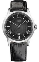 Hugo Boss Mens Stainless Steel Watch with Black Leather Strap - Lyst