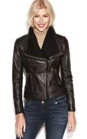 Michael Kors Leather Knit Trim Motorcycle Jacket - Lyst