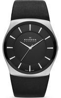 Skagen Classic Silvertone Black Leather Watch 42mm - Lyst