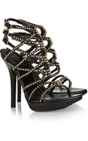 Versace Studded Leather Sandals - Lyst
