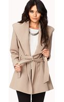 Love 21 Belted Broad Collar Coat - Lyst
