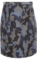 Christopher Kane Blue Camouflage Silk Pencil Skirt - Lyst