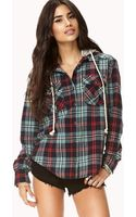 Forever 21 Rustic Hooded Plaid Flannel - Lyst