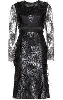 Erdem Bobbin Appliquéd Lace and Faux Leather Dress - Lyst