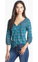 Lucky Brand Folklore Mixed Print Peasant Top - Lyst