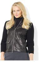 Lauren by Ralph Lauren Plus Leather Wool Zipup Sweater - Lyst