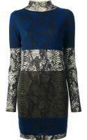 Markus Lupfer Snake Colour Block Turtleneck Dress - Lyst