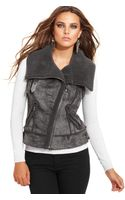 Guess Vest Sleeveless Faux Fur Motorcycle - Lyst
