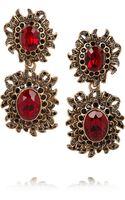 Oscar de la Renta Sunburst Gold Plated Crystal Clip Earrings - Lyst