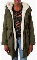 Topshop Joey Faux Fur Lined Parka - Lyst