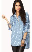 Forever 21 Femme Polka Dot Chambray Shirt - Lyst