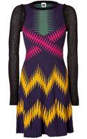 M Missoni Wool Blend Long Sleeve Multi Color Patterned Knit Dress - Lyst