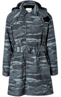 Kenzo Wool Blend Cloud Print Coat with Removable Hood - Lyst