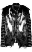 Roberto Cavalli Knit Jacket with Fur in Black white grigio - Lyst