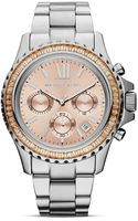 Michael Kors Midsize Silver Tone Everest Chronograph Glitz Watch 415mm - Lyst