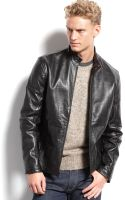 Calvin Klein Mens Leather Moto Jacket - Lyst
