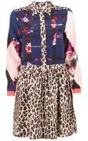 MSGM Plaid Floral and Animal Print Shirt Dress - Lyst