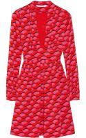 Diane Von Furstenberg Helena Printed Silk-blend Dress - Lyst