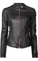 Versace Zip Trim Leather Jacket - Lyst