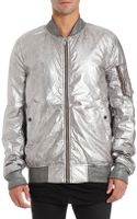 DRKSHDW by Rick Owens Bomber Jacket in Silver - Lyst