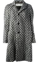Saint Laurent Herringbone Coat - Lyst