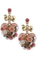 Betsey Johnson Multi Tone Vintage Heart Drop Earrings - Lyst