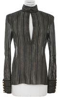 Balmain Black and Goldtone Striped Silk Shirt - Lyst
