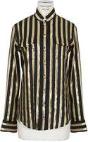 Balmain Black and Goldtone Striped Silkblend Shirt - Lyst
