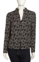 Lafayette 148 New York Leather Back Houdstooth Jacket - Lyst