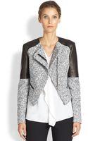 Michael Kors Tweed Leather Jacket - Lyst